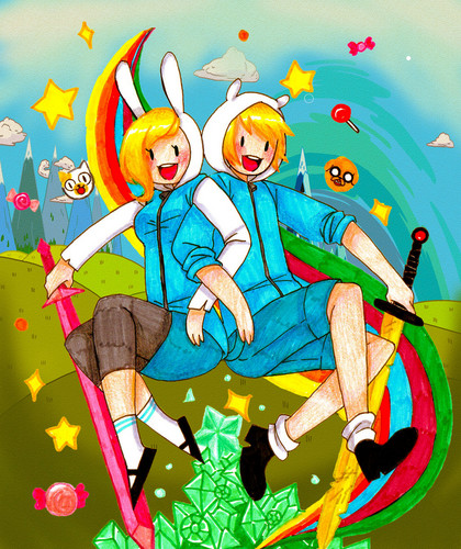 Adventure Time With Finn and Jake wallpaper containing anime entitled Finn and Fionna
