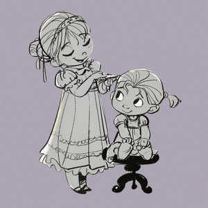 Frozen Concept Art - Young Anna and Elsa