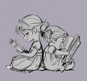 Frozen Concept Art - Young Anna and Elsa