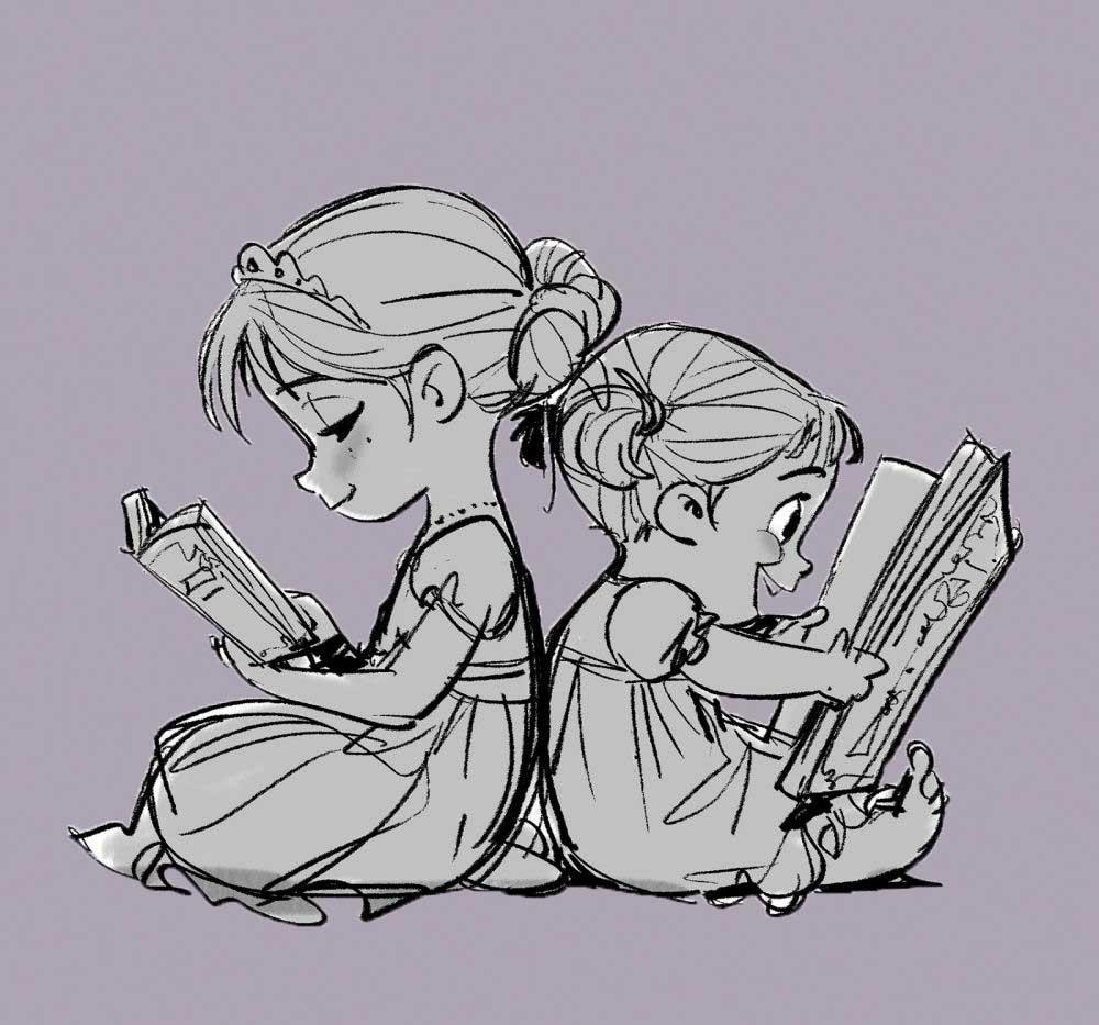 Frozen Concept Art - Young Elsa and Anna