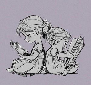 Frozen Concept Art - Young Elsa and Anna