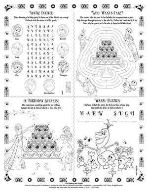 Frozen - Uma Aventura Congelante Fever Activity Sheet