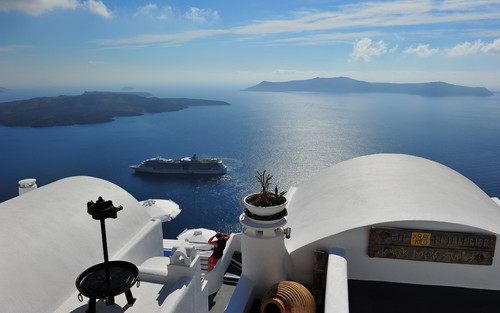 Greece वॉलपेपर possibly containing a car ferry and a resort titled GREECE