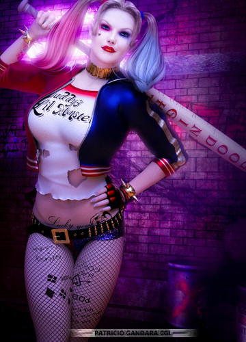 Harley Quinn wallpaper containing hosiery, bare legs, and a hip boot called Harley Quinn