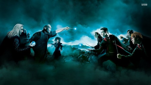 Harry Potter karatasi la kupamba ukuta with a tamasha and a kisima, chemchemi called Harry Potter and the Deathly Hallows