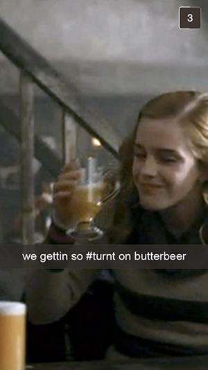 Hermione drinking butterbear