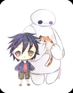 Hiro, Baymax and Mochi