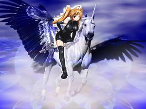 Irina riding on her beautiful pegasus конь