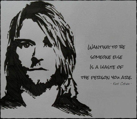Quotes wallpaper possibly with anime entitled Kurt Cobain