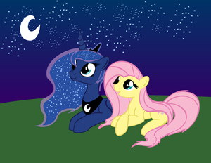 Luna and Fluttershy Gazing at the Stars