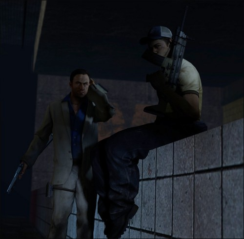 Left 4 Dead 2 fond d'écran probably with a business suit, a navy seal, and a fusilier, carabinier called Nick and Ellis