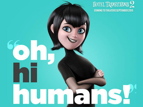 "Hotel Transylvania kertas dinding with a portrait titled ""Oh hi humans!"""