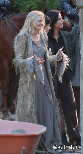 Once Upon A Time fond d'écran containing a barrow, a horse trail, and a horse wrangler entitled On Set Season 5