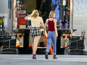 On the set of 'Yoga Hosers