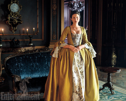 outlander série de televisão 2014 wallpaper possibly containing a polonaise, a gown, and a hoopskirt entitled Outlander Season 2 First Look