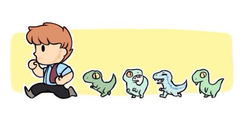 Jurassic World karatasi la kupamba ukuta entitled Owen and his Velociraptors
