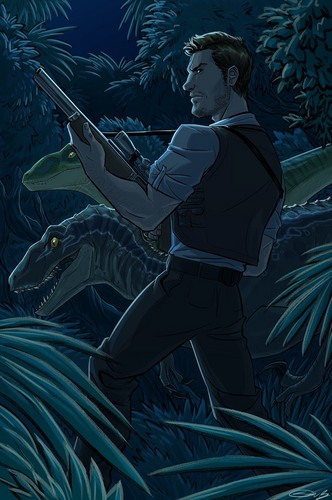 jurassic world wallpaper possibly containing a sign and anime titled Owen and his Velociraptors