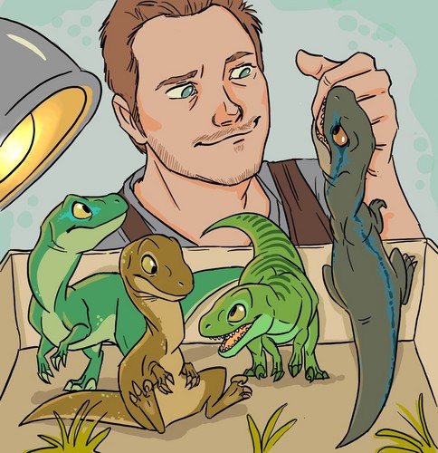 Jurassic World achtergrond containing anime entitled Owen and his Velociraptors