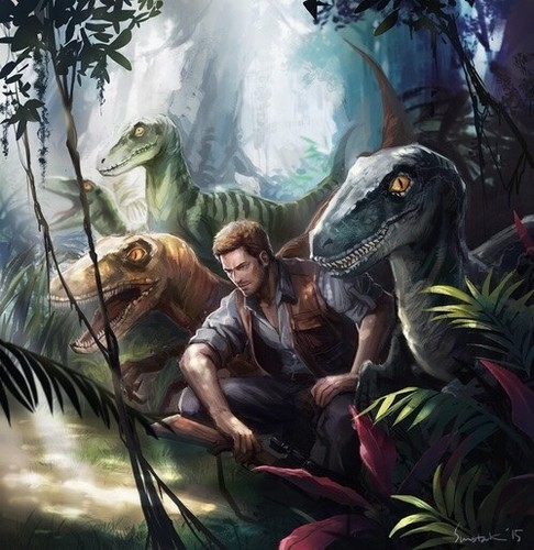 Jurassic World Wallpaper Probably Containing Anime Called Owen And His Velociraptors