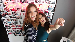 Rebecca Mader and Emilie de Ravin at 2015 Comic-Con