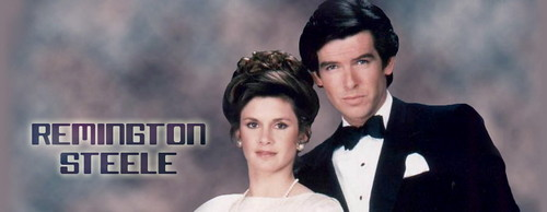 Remington Steele Hintergrund probably containing a well dressed person, a business suit, and a portrait entitled Remington Steele