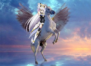 Rossweisse riding pegasus