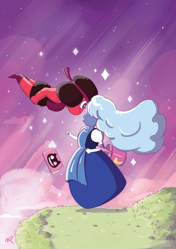 steven universe wallpaper entitled Ruby and Sapphire ft. Cookie Cat