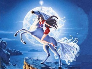 Sailor Mars riding on her beautiful majestic unicorn