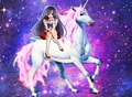 Sailor Mars with her beautiful unicorn