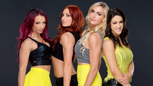 Звезды WWE Обои possibly containing a коктейль dress, a ужин dress, and a бюстье entitled Sasha Banks,Becky Lynch,Charlotte,Bayley