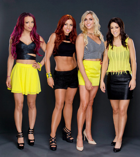 WWE Divas achtergrond possibly with bare legs, hot pants, and hotpants called Sasha Banks,Becky Lynch,Charlotte,Bayley