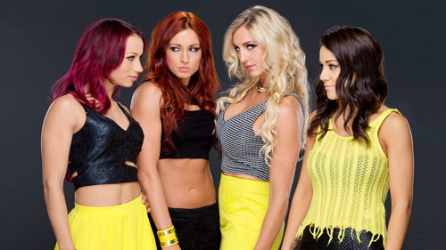 WWE Divas achtergrond probably containing a cocktail dress called Sasha Banks,Becky Lynch,Charlotte,Bayley