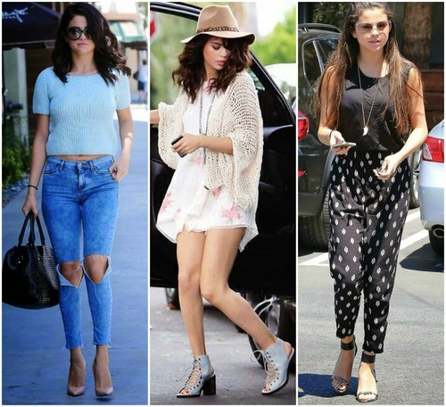 Selena Gomez wallpaper possibly containing a playsuit and a hip boot called Selena Gomez Street Style