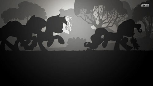 My Little Pony wallpaper possibly containing a sign and a triceratops called Silhouettes