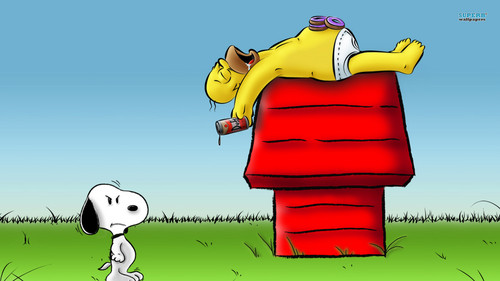 Les Simpsons fond d'écran entitled Snoopy and Homer