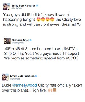 Stephen Amell and Emily Bett Rickards on winning the MTV Ship of the jaar award for Olicity