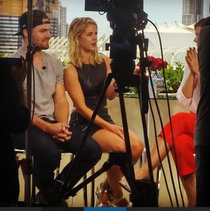 Stephen Amell and Emily Bett Rickards with Eonline (Eonline's Best Ever TV Awards)