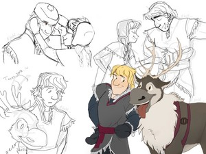 Sven with Kristoff and Anna