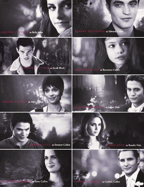 The Cullens and Jacob BD 2 end closing credits