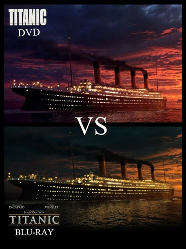 Titanic wallpaper possibly with a business district, a multiplex, and a sign titled Titanic DVD VS Blu-ray (2)