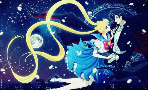 Sailor Moon karatasi la kupamba ukuta possibly containing anime entitled Usagi and Mamoru
