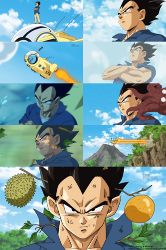 Dragon Ball Z wallpaper entitled Vegeta Funny Scene from DB Super