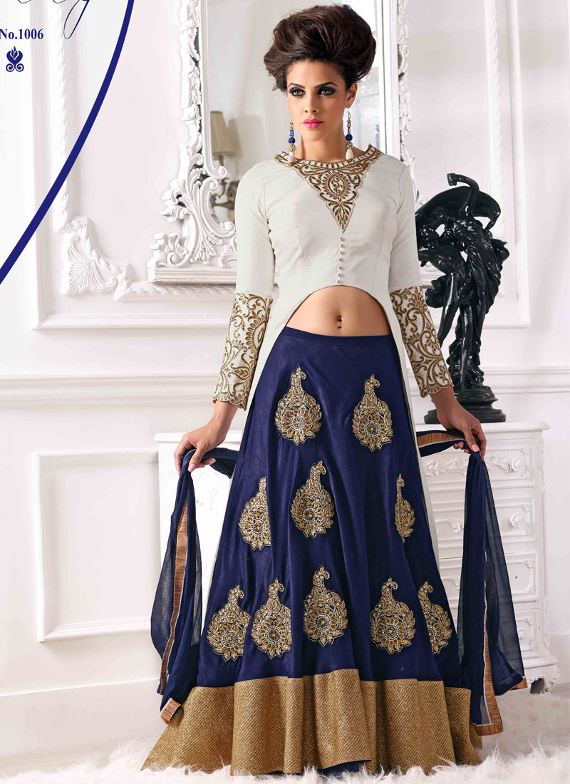 White And Blue Pure Bhagalpuri Embroidery Work Lehenga Choli. Pair With Matching Santoon Dupatta. -