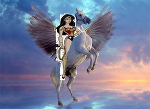 Wonder Woman riding her pegasus coursier, steed