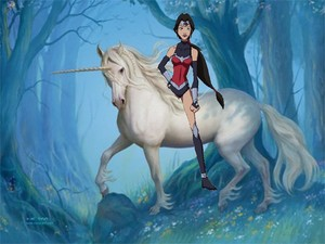 Wonder Woman riding her trusty unicorn corcel, steed