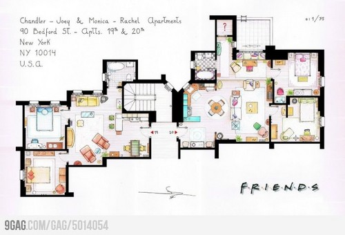 Friends wallpaper with an electric refrigerator titled apartments