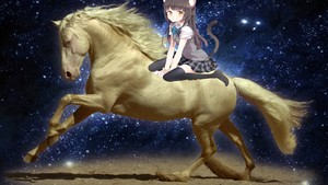 catgirl riding her white horse
