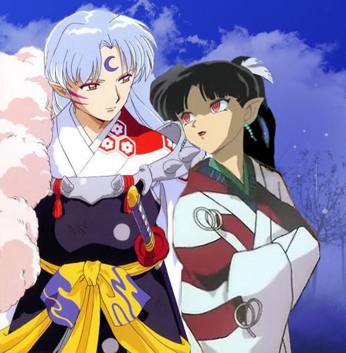 Inuyasha karatasi la kupamba ukuta containing anime titled sesshomoru and kagura