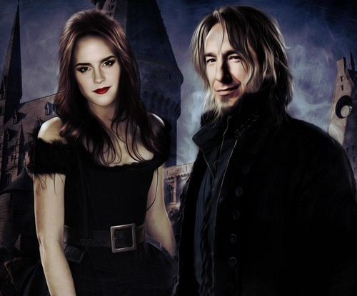 Severus Snape wallpaper probably with a playsuit, an outerwear, and a blouse entitled           Severus and Hermione