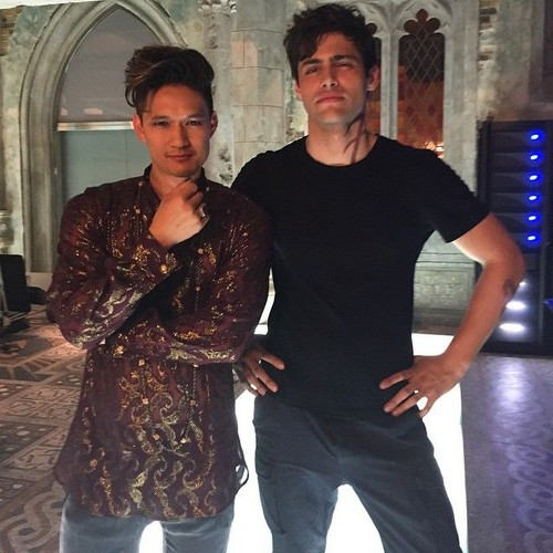Alec & Magnus wallpaper possibly with a well dressed person, a business suit, and an outerwear titled 'Shadowhunters' on set